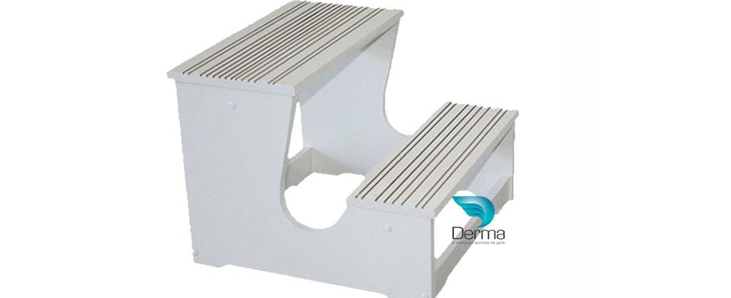 Escada em Madeira MDF 02 Degraus Branco Ragonezi
