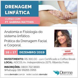 16 e 17/12 Drenagem Linfática com a Profª Sabrina Matthes