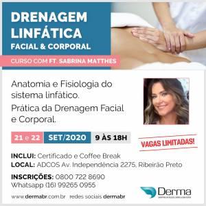 21 e 22/09 Drenagem Linfática Facial & Corporal com a Profª Sabrina Matthes